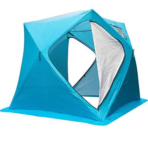 VEVOR Refugios de Pesca en Hielo Tienda de Pesca de Invierno Tienda de Refugio Portátil Impermeable Carpa Tienda de Pesca de Hielo para 4 Personas Color Azul