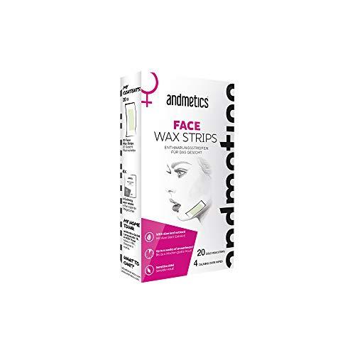 andmetics FACE wax strips: Kaltwachs Enthaarung Streifen, Enthaarungsstreifen für das Gesicht, 20 x Wachsstreifen