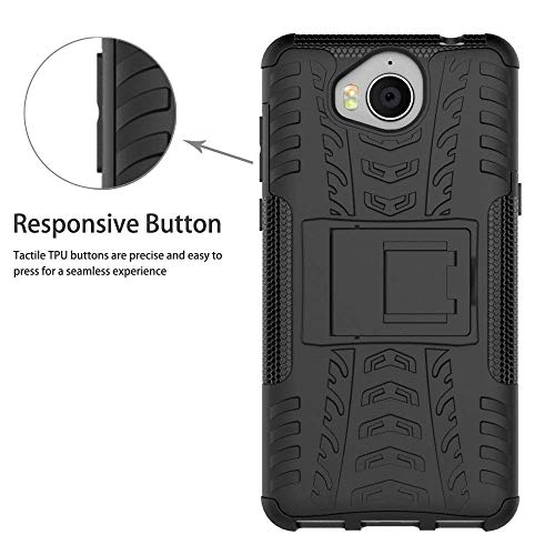 HuaWei Y5 2017 Case,Mama Mouth Shockproof Heavy Duty Combo Hybrid Rugged Dual Layer Grip Cover with Kickstand For HuaWei Y5 2017 / HuaWei Y6 2017 (With 4 in 1 Free Gift Packaged),Black