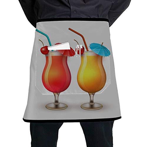 WYYWCY Girly Taillenschürze Schöne schöne Cocktailglas Kochküche Schürzen mit großer Tasche Unisex für die Küche Handwerk Grill Zeichnung