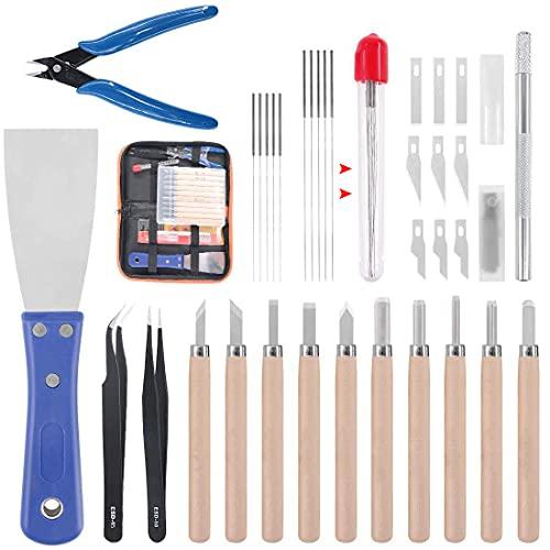 34 Piezas Kit de Accesorios para Impresora 3D, Limpieza Agujas, Pinzas,Alicates,Raspador, Limpiar Cuchillos para la Eliminación y Acabado de Modelos de Impresión 3D,Herramientas de la impresora 3D