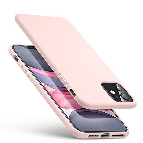ESR Yippee Farbenfrohe Weiche Hülle kompatibel mit iPhone 11 - Samtig weiche Flüssigsilikon Gummi Handyhülle mit komfortablem Handgriff und [Bildschirm-und Kameraschutz] [stoßabsorbierend] für iPhone 11-Rosa