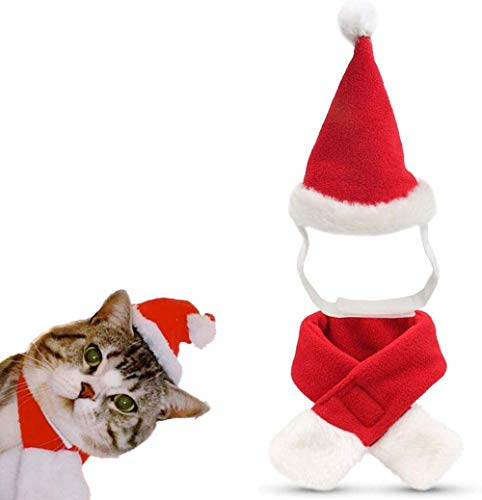 LuShmily Cat Christmas Hat with Muffler, Pet Dog Santa Hat and Scarf Christmas Costume for Puppy Kitten Cats and Dogs Red Small
