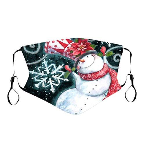 PPangUDing Weihnachten Mundschutz mit Motiv Waschbar Baumwolle Wiederverwendbar Atmungsaktive Staubdicht Bandana Halstuch Multifunktionstuch Schlauchtuch für Damen und Herre