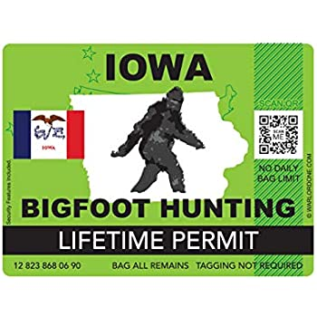 fagraphix Iowa Bigfoot Hunting Permit Sticker Die Cut Decal Sasquatch Lifetime FA Vinyl - 4.00 Wide
