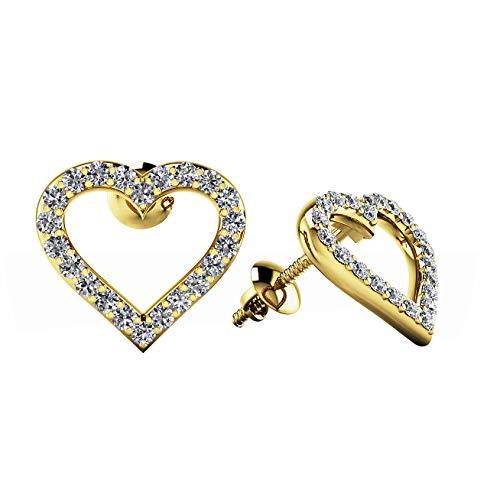 Ani's Pendientes de tuerca para mujer y niña, chapados en oro de 14 quilates, con diamantes blancos redondos de 0,22 quilates