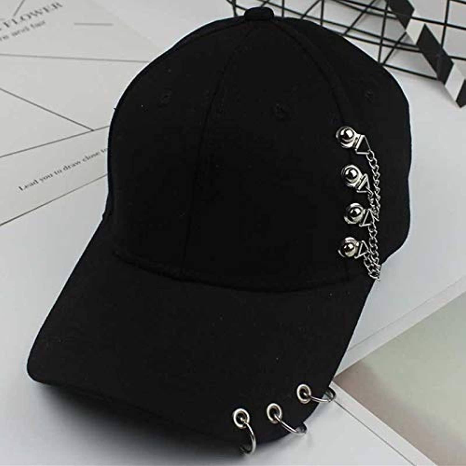 4ecd2241d21305 AAMOUSE Baseball Cap Kpop Iron Ring Baseball Cap Casual Solid Adjustable Dad  Hat Men Women Summer