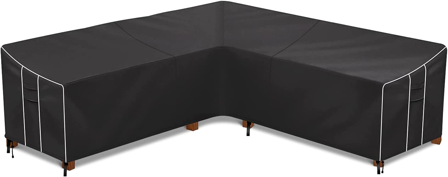Patio Sectional Sofa Cover, Waterproof Outdoor V-Shaped Sectional Cover, 600 D Heavy Duty Outdoor Sofa Cover with Air Vent, 85