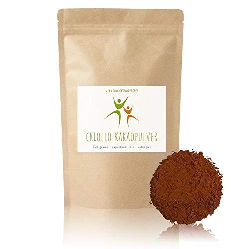 Bio Criollo Kakaopulver - 250 g roh - Superfood - Kakao-Alternative - in bewährter Rohkostqualität - ideal für rohe Schokoladenkreationen - 100% vegan und rein - Kakaopulver - glutenfrei - OHNE Hilfs- u. Zusatzstoffe