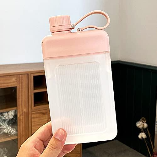 Deportes Botella de agua plana Botella de agua simple de gran capacidad transparente plástico taza de agua portátil cuadrado deportes rosa 450ml