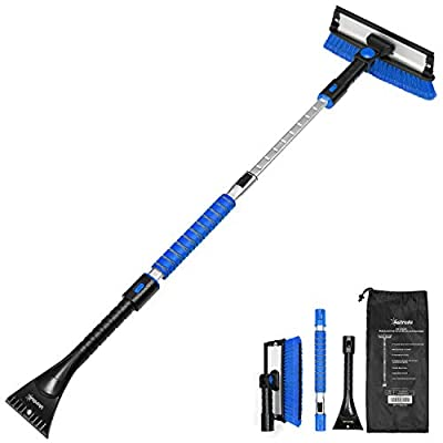 AstroAI 47.2'' Ice Scraper and Extendable Snow Brush with Squeegee 3 in 1 Durable Snow Removal Telescoping Brush for Car Windshield Anti-Scratch Snow Scraper with Foam Grip Work(Blue)