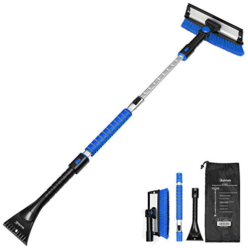AstroAI 47.2  Ice Scraper for Car Windshield,Extendable Snow Brush for Leaves Removal with Squeegee, 3 in 1 Durable Snow Removal Telescoping Brush for Car Windshield,Household Cleaning Tools(Blue)