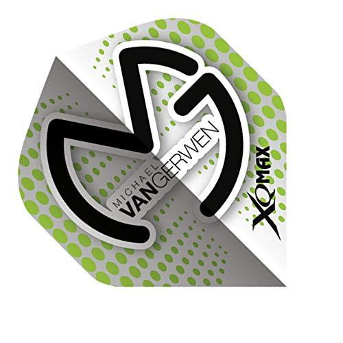 XQMax Michael Van Gerwen Flights, 1 Set = 3 Stück (Weiss-Grün (gepunktet))
