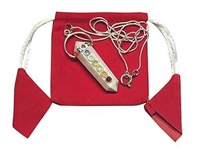 WholesaleGemShop Scolecite 7-Chakra Crystal Gemstone Facet Double Point Wellness Reiki Powerful Pendant Fashion Jewelry Men Women Girls Gift