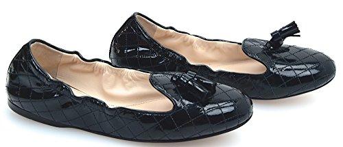 Prada Woman Ballerina Flat Classic Shoes PATENT Leather Code 3S5555 38 Nero - Black