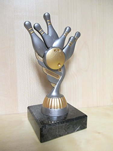 Fanshop Lünen Bowling - Figur - Resin 15 cm - Pokal - Turnier - Kinder - Sporttrophäe - Trophäe - Geburtstag - Bowlen - (pf211) -