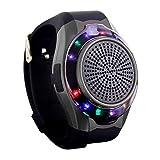 NBWS - Reloj de pulsera portátil deportivo con altavoz, reproductor de música, antipérdida, soporte para tarjetas TF, disparador automático remoto, carga USB (negro).