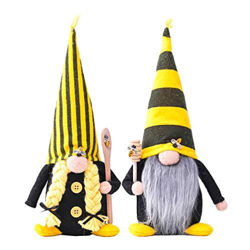SOIMISS Bee GNOME Tomte Schwedisch Tomte Skandinavischen Gnomes Nordic GNOME Elf Figur Festival Party Bauernhaus Frühling Dekorationen Für Home Kamin Desktop 2Pcs