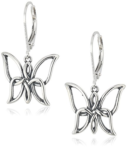 Sterling Silver Oxidized Celtic Knot Butterfly Leverback Dangle Earrings