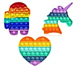 Kexle 【Rainbow 3-Pack】 Pop up It Push on Pop Buble Fidget Sensory Toy Set, Push on Pop Silicone Game Toy Anxiety Stress Reliever Autism Learning Materials for Kids Teens Adults (Coloful)