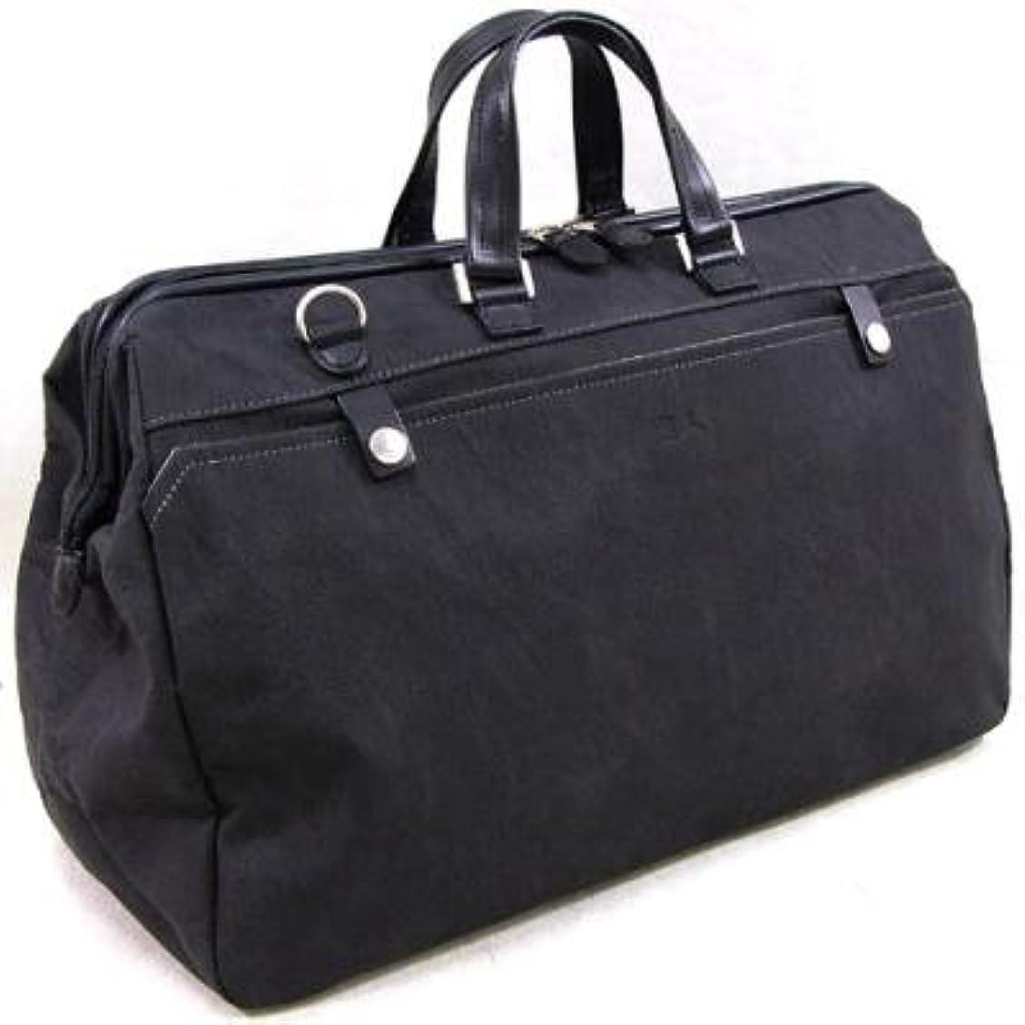 アンタゴニスト修理可能熱帯のおしゃれ/カバン 旅行 ボストンバッグ 珍しいバックスキン調の人工皮革製です 素敵,な 織人チャックボストンバッグ 国産 トラベルバッグ 本革付属 ブラック(黒)