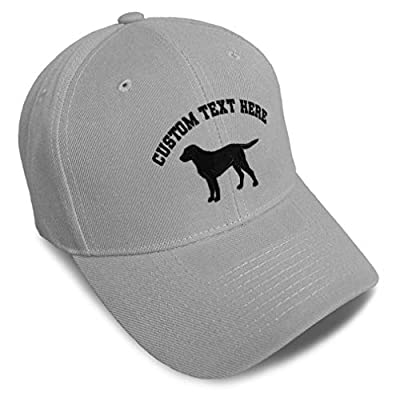 Custom Baseball Cap Black Labrador Retriever Lab Embroidery Acrylic Dad Hats for Men & Women Strap Closure Gray Personalized Text Here