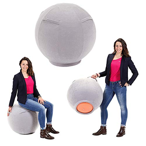 Sport-Thieme Bezug für Sitzball | Trageschlaufen für einfachen Transport | Für Sitzbälle mit Ø 53 – 70 cm | OHNE Sitzball | Verschiedene Größen erhältlich | Grau | Baumwolle