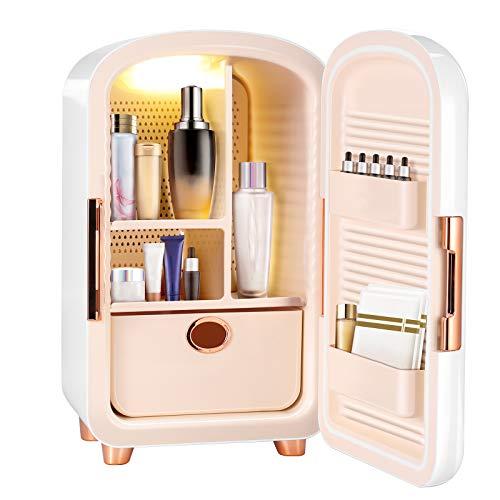 S SMAUTOP Mini frigo, frigorifero portatile per la cura della pelle da 12 litri, frigorifero per cosmetici, frigorifero compatto per camera da letto, ufficio, auto, dormitorio