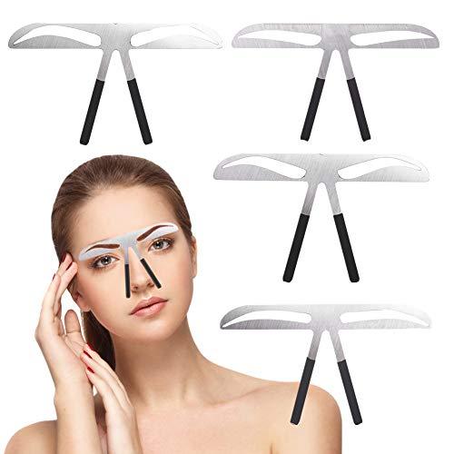 Pochoirs à sourcils, 4Pcs / set Bricolage Acier Sourcils Trois points d'équilibre Règle de mesure Microblading Tatouage Permanent Maquillage Or Ratio Outil De Positionnement