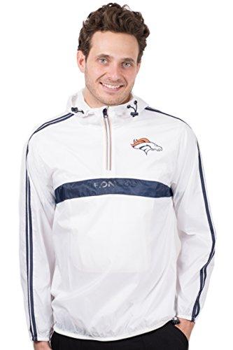 Ultra Game NFL Denver Broncos Mens Quarter Zip Pullover Hoodie Packable Windbreaker Jacket, White, X-Large