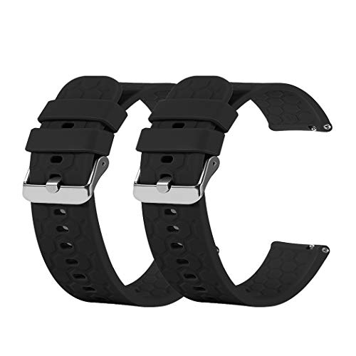 TenCloud Band Compatible with Umidigi Uwatch 3 Bands Replacement Flexible Soft Silicone Sweat-Resistant Sport Wristband Accessory for Umidigi Uwatch 3 Smartwatch (Twin Black)
