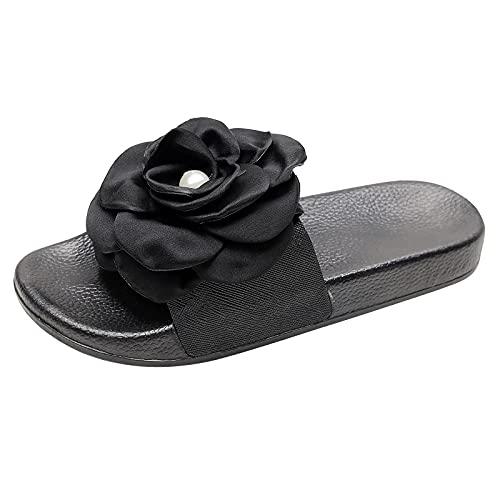 Sandalias para mujer, color rosa liso, con doble brida trasera de velcro, zapatillas de piscina y playa, Negro , 37 EU