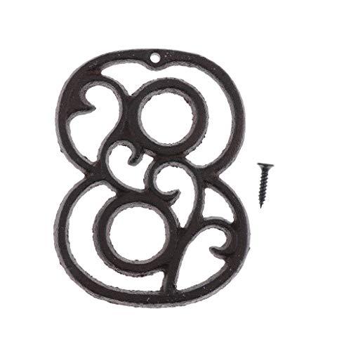 joyMerit Schmiedeeisen Antike Haustür Nummer Zeichen Plaque DIY Digit Number - Nummer 8