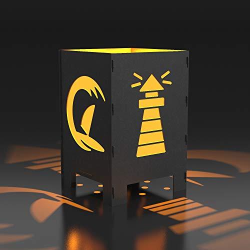 MEILLER MetallDesign Feuerkorb Leuchtturm | Feuerkorb aus Metall Made IN Germany für Terrasse & Garten, leicht zu reinigen, viele Verschiedene Motive verfügbar (40 x 40 x 60 cm)