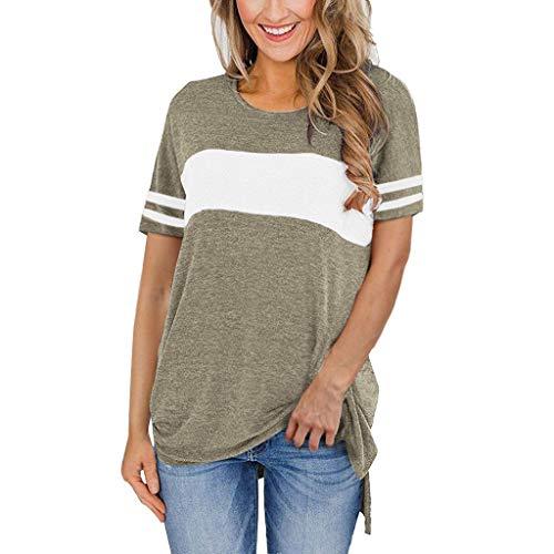 BALABA❥Women Fashion Summer O Neck Short Sleeve Stripe Printed Tunics T Shirt Tops Blouse Casual Loose Tops Shirts Khaki