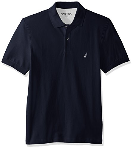 Nautica Men's Short Sleeve Solid Cotton Pique Polo Shirt, Navy, Medium