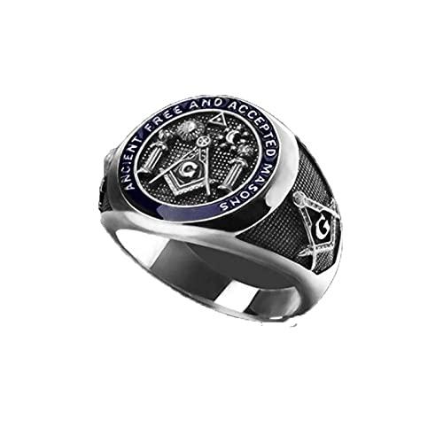 Anillo de sello de masonería nórdica, anillo Retro Steampunk para hombre, 2021, accesorios góticos de tendencia, regalo de fiesta, anillo de dedo índice, 10 de plata