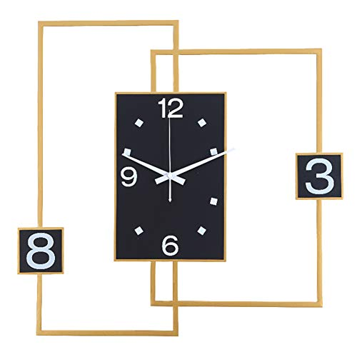 XM&LZ Silencioso Reloj De Pared Decoración,Marco De Metal Cuarzo Relojes De Pared Reloj Grande Sin Tictac Moderno Fácil De Instalar Dormitorio Oficina Salón