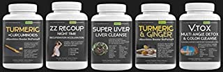 Liver Regeneration Support Bundle 1 Special - Super Liver, VTOX Daily Detox, Turmeric & Ginger, Turmeric + Curcuminoids, ZZ Recoup Recuperation Acceleration