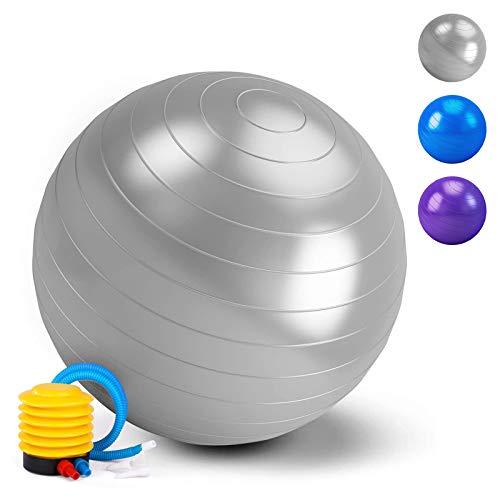 HebyTinco Pelota de Gimnasia, Pelota de Yoga, para el hogar, para el Embarazo, Pilates, Yoga, para Ejercicios Abdominales y Ejercicios básicos de rehabilitación de Hombros (Plata, 55cm)