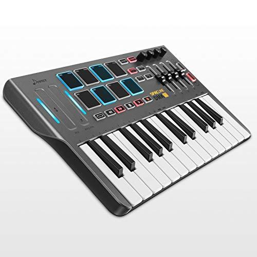 Tastiera MIDI, Donner 25 Tasti USB Type-C Professionale MIDI Keyboard con AIR-Touch Bar (Pitch, Modulation), 8 Drum Pad retroilluminati, 4 Manopole e 4 Cursori di controllo, Nero