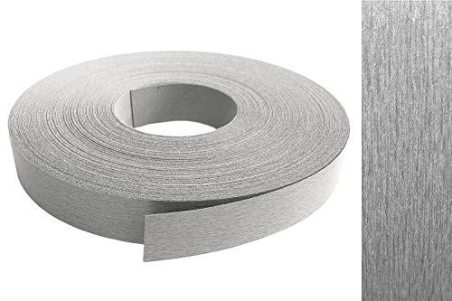 Cinta de melamina para rebordes, 22 mm x 10 m, con adhesivo termofusible, aspecto de acero inoxidable VA, decoración