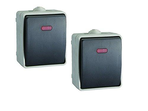 2er SET Aufputz-Kontrollschalter / Feuchtraum-Kontrollschalter, IP54