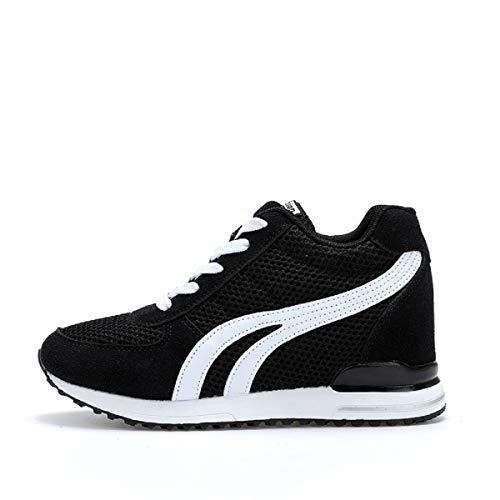 AONEGOLD Zapatillas de Cuña para Mujer Zapatillas de Deporte Zapatillas Altas Primavera/Verano Tacón Cuña 7CM(Negro,38 EU)