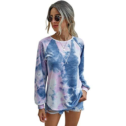 Yuanu Sweat Imprimé Tie Dye Femme Col Ras du Cou Manche Longue Chemises Amples Automne Hiver Loisir Extérieur Mode Doux Confortable Pull Streetwear Hauts Bleu M