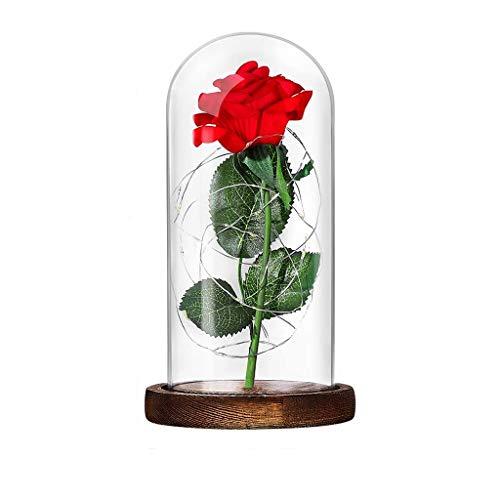 ROLLIN La Rosa Bella y Bestia, la Rosa eterna Disney es una de Las Flores preservadas elegidas como Regalos Originales para Mujer con Decoracion de Luces LED Cubiertas por una cupula de Cristal