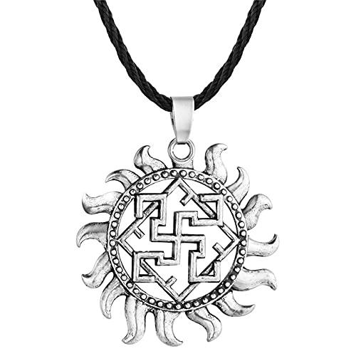 ShSnnwrl Collar Collar con Colgante de Amuleto Cuadrado de Noruega eslava Star Rus Viking Talisman Pagan Men Jewelry Gift style2