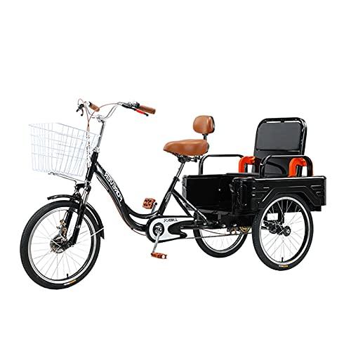 Triciclo per Adulti Bicicletta A 3 Ruote Bicycle Sedile Schienale Adulto Tricicli Cargo Cestino Trike Bicicletta Bicicletta per Uomo Donne Anziani Gioventù(Color:Black)