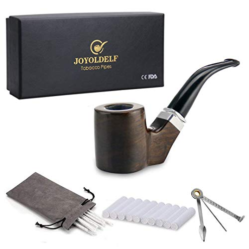 Joyoldelf Cylinder Shape Smoking Pipe - Wooden Pipe with 9mm Pipe Filter, 3-in-1 Pipe Scraper, Pipe Cleaners & Gray Pipe Pouch
