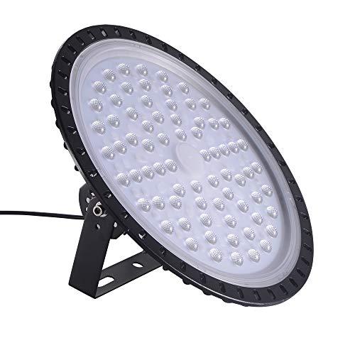 Viugreum 300W UFO LED Lámpara de Alta Bahía, Ultra Delgada Lámpara Industrial 30000LM,IP65, 6500K(Blanco Frío), Comercial Lámpara Alta Bahía,Iluminación para Garaje, Fábrica, Taller.
